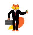 fox businessman boss wild cunning animal manager vector image