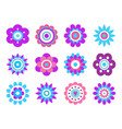 geometric shape flowers made simple circles vector image