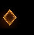 glowing golden glitter diamond symbol on black vector image