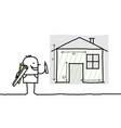 hand drawn cartoon characters - man drawing house vector image
