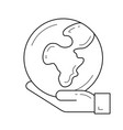 hand holding the globe line icon vector image