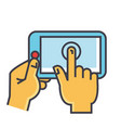 hands touching tablet concept line icon vector image vector image