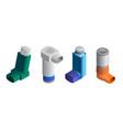 inhaler icons set isometric style vector image