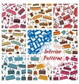Interior furniture and home objects patterns set vector image vector image