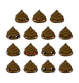 Kawaii poop emoticons set vector image vector image