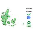leaf green collage denmark map vector image vector image