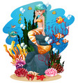 mermaid and fish under sea vector image vector image