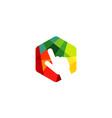 multicolor hexagon click logo vector image vector image