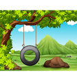 Nature scene with swing in the park vector image vector image