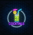 neon cocktail glass sign in circle frame glowing vector image vector image