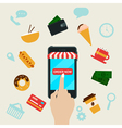 Ordering Fast Food Online by Smart Phone vector image