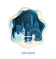 paper art of london origami concept night city vector image vector image