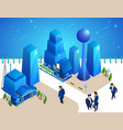 people characters move among futuristic buildings vector image vector image