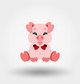pig with red bow icon flat vector image vector image
