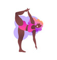 plus size black curvy lady doing yoga class vector image