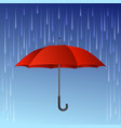 Red umbrella and rain drops vector image vector image