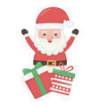 santa hands up and gifts decoration merry vector image