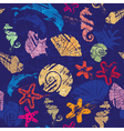 Seamless background with Marine life - pattern vector image vector image