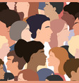 seamless pattern different people profile heads vector image vector image