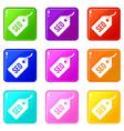 seo tag icons 9 set vector image