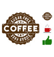 sugar free reward stamp with grunge effect vector image