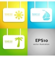 sun sail boat and palm tree applique background vector image vector image