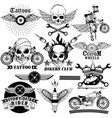 tattoo art design of skull bike rider collection vector image vector image