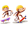 Two monkeys playing skateboard vector image vector image