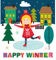 winter poster with skating girl in town vector image vector image
