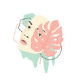woman face mask pastel minimalist art collage vector image vector image