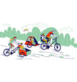 young man and woman characters riding bicycles vector image vector image
