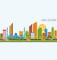 abu dhabi skyline with color buildings and blue vector image vector image