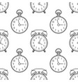 alarm clock and pocket watch black and white vector image vector image