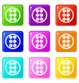 asian shashlik icons 9 set vector image vector image