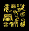 aztec ancient animal golden symbols vector image vector image