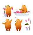 bear fisherman fishing cartoon clipart for kids vector image vector image