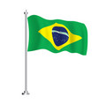 brazil flag isolated wave flag brazil country vector image vector image