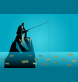 businessman fishing for money vector image vector image