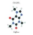 C8H10N4O2 caffeine molecule vector image vector image