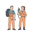 car mechanic woman and man in professional vector image vector image