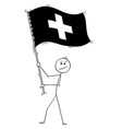 cartoon of man waving the flag of swiss vector image