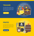cartoon pirate signs banner horizontal set vector image vector image