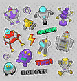 cartoon robots and retro style electronics doodle vector image