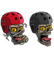 cartoon skulls in protective skateboard helmet vector image vector image