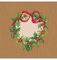 Christmas Card with Wrath on a wooden background vector image vector image