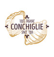 conchiglie italian pasta type emblem for menu or vector image vector image