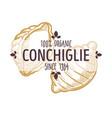 conchiglie italian pasta type emblem for menu or vector image