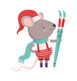 cute mouse in christmas santa claus costume with vector image vector image