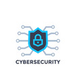 cyber security logo with shield vector image vector image