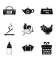 dame welfare icons set simple style vector image